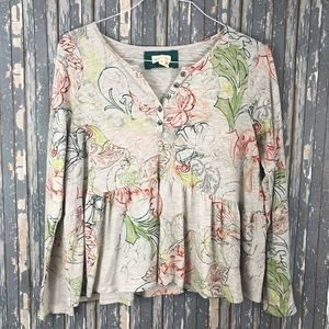 Anthropologie Meadow Rue Gray Floral Knit Shirt